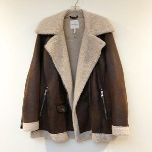 AVEC LES FILLES Sherpa Lined Faux Suede Oversized Motorcycle Jacket 1X